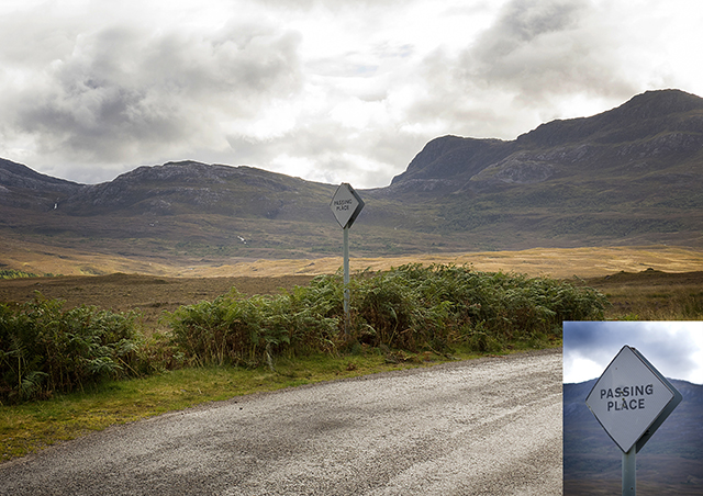 passing, place, South, NC500, Scotland, road, sign